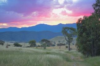 Sunset over Namadgi, seen from Cooleman Ridge. Canberra