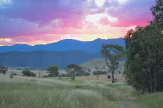 Sunset over Namadgi, seen from Cooleman Ridge. Canberra